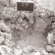 Excavation at Feature T in 1990 looking N